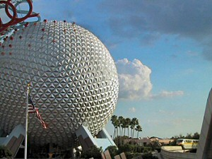Epcot's Spaceship Earth is one of the world's most unique buildings. Construction crews built this 180 feet tall building out of steel and aluminum.