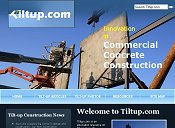 Home page for TiltUp.com an informational resource on tilt-up construction, with articles, photographs, links, and more.