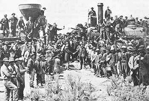 The two construction companies met at Promontory Pass to join the two sides of the Transcontinental Railroad together on May 10, 1869.
