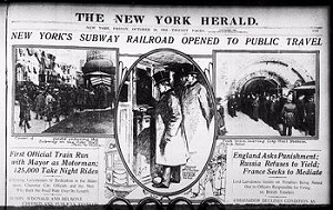 The opening of the New York Subway was a front-page story on October 27, 1904, and a success for construction company  Interborough Rapid Transit Company.